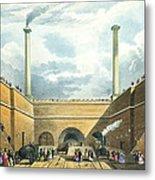 Entrance Of The Railway At Edge Hill Metal Print by Thomas Talbot Bury