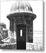 Entrance To Sentry Tower Castillo San Felipe Del Morro Fortress San Juan Puerto Rico Bw Film Grain Metal Print by Shawn O'Brien