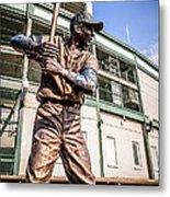Ernie Banks Statue At Wrigley Field  Metal Print by Paul Velgos