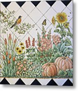 Espinosa's Flower Garden Tile Mural Metal Print by Julia Sweda