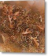 Fall Pinecones Metal Print by Paula Marsh