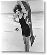 Fanny Brice And Beach Toy Metal Print by Underwood Archives