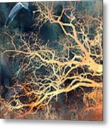 Fantasy Surreal Trees And Seagull Flying Metal Print by Kathy Fornal