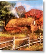 Farm - Barn - Our Cabin Metal Print by Mike Savad