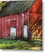 Farm - Barn - The Old Red Barn Metal Print by Mike Savad