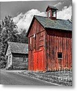 Farm - Barn - Weathered Red Barn Metal Print by Paul Ward