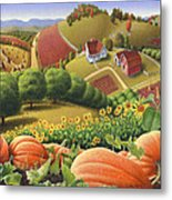 Farm Landscape - Autumn Rural Country Pumpkins Folk Art - Appalachian Americana - Fall Pumpkin Patch Metal Print by Walt Curlee