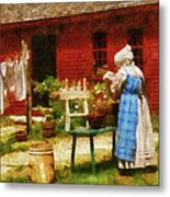 Farm - Laundry - Washing Clothes Metal Print by Mike Savad