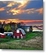 Farmstead At Sunset Metal Print by Julie Dant