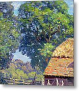 Farmyard With Poultry Metal Print by Gabriel Edouard Thurner