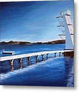 Farsund Badehuset On A Sunny Day Metal Print by Janet King