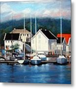 Farsund Dock Scene Painting Metal Print by Janet King