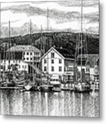 Farsund Dock Scene Pen And Ink Metal Print by Janet King