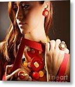 Fashionable Girl Portrait Metal Print by Anna Om