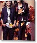 Fashionably Dressed Boy And Teenage Girl Fall Fashion Metal Print by Oleksiy Maksymenko