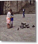 Feeding Pigeons In Santiago De Compostela Metal Print by Mary Machare