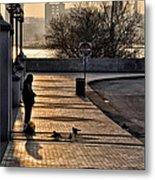 Feeding The Birds At Dawn Metal Print by Bill Cannon