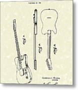 Fender Guitar 1951 Patent Art Metal Print by Prior Art Design