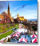 Festive Princes Street Gardens - Edinburgh Metal Print by Mark E Tisdale