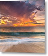 Fiery Skies Azure Waters Rendezvous Metal Print by Photography  By Sai