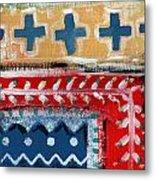 Fiesta 3- Colorful Pattern Painting Metal Print by Linda Woods
