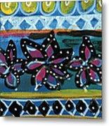 Fiesta In Blues- Abstract Pattern Painting Metal Print by Linda Woods