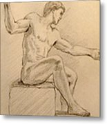 Figure On A Rock Metal Print by Sarah Parks