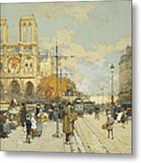 Figures On A Sunny Parisian Street Notre Dame At Left Metal Print by Eugene Galien-Laloue