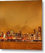 Fire In A Chicago Night Sky Metal Print by Ken Smith