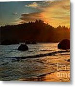 Fire Over Trinidad Beach Metal Print by Adam Jewell