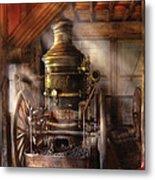 Fireman - Steam Powered Water Pump Metal Print by Mike Savad
