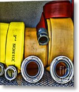 Fireman - The Fire Hose Metal Print by Paul Ward