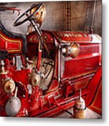 Fireman - Truck - Waiting For A Call Metal Print by Mike Savad