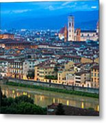 Firenze By Night Metal Print by Inge Johnsson
