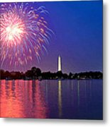 Fireworks Across The Potomac Metal Print by Steven Barrows
