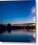 Fireworks Over The Fox  Metal Print by Lorraine Mahoney