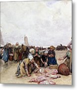 Fish Sale On The Beach  Metal Print by Bernardus Johannes Blommers