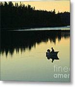 Fisherman At Dusk Metal Print by Nancy Harrison