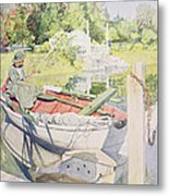 Fishing Metal Print by Carl Larsson