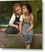 Fishing For Frogs Watercolor Version Metal Print by William Bouguereau