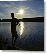 Fishing In The Sunset Metal Print by Per Kristiansen