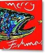 Fishmas Trout Metal Print by Owl Jones