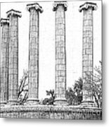 Five Columns Sketchy Metal Print by Debbie Portwood
