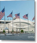 Five Us Flags Flying Proudly In Front Of The Megayacht Seafair - Miami - Florida Metal Print by Ian Monk
