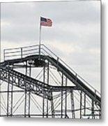 Flag Mounted On Seaside Heights Roller Coaster Metal Print by Melinda Saminski