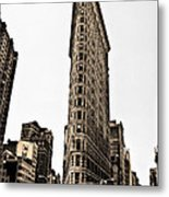 Flat Iron Building In Sepia Metal Print by Bill Cannon