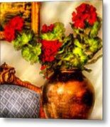 Flower - Geraniums On A Table  Metal Print by Mike Savad