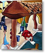Flower Girl And Tile Roof Metal Print by William Cain