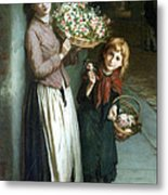 Flower Girls A Summer Night Metal Print by Augustus Edwin Mulready