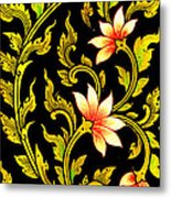 Flower Images Artistic From Thai Painting And Literature Metal Print by Pakorn Kitpaiboolwat